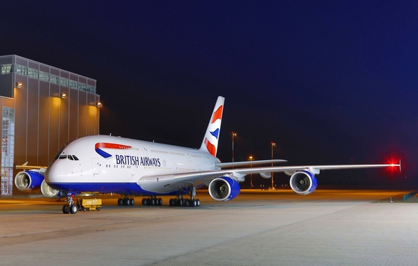 Picture The sky, Lights, Night, Airport, Sky, Lights, Night, A380, Airbus, Airport, British Airways