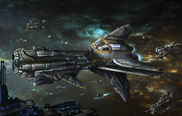 Picture space, ships, art, Armada, Jonathan Powell