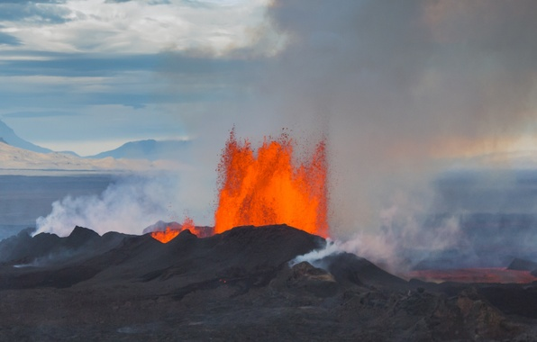 Picture the sky, element, the volcano, the eruption, lava, Iceland, Bardarbunga