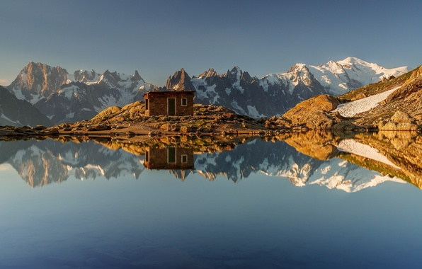 Picture mountains, lake, reflection, France, Alps, hut, France, Alps, Chamonix, Chamonix, White Lake, Lac Blanc