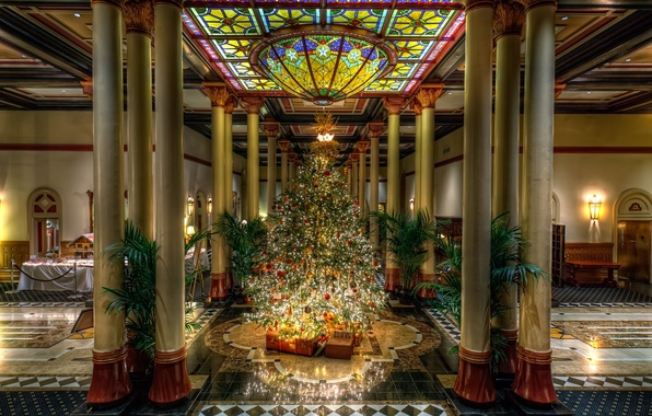 Picture glass, palm trees, tree, Christmas, the ceiling, stained glass, gifts, New year, columns, tree, marble, …