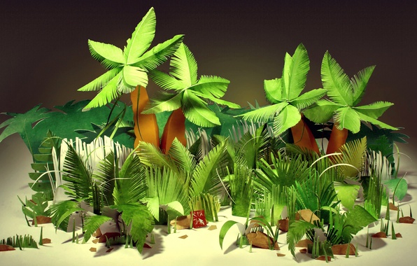 Picture leaves, tropics, paper, palm trees, jungle, cardboard, the bushes, paper