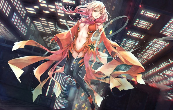 Picture girl, anime, art, guilty crown, inori yuzuriha, upscale, nyanfood