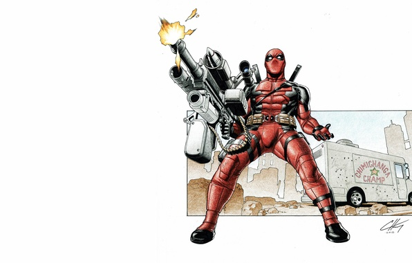 Picture weapons, background, mask, costume, deadpool