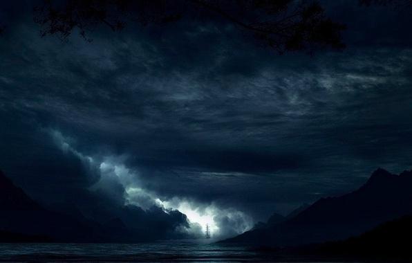 Picture sea, night, fantasy, sailboat