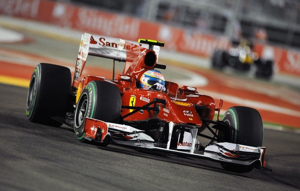 Picture The evening, Photo, Lights, Night, Turn, Race, Track, 2010, Formula-1, Fernando Alonso, Wallpapers, The car, …