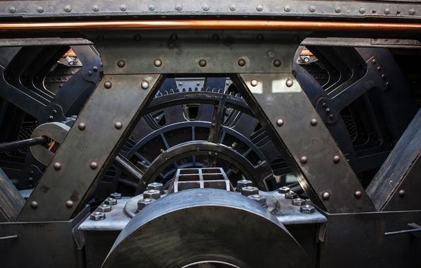 Picture metal, engine, ship, technique, wheel, nut