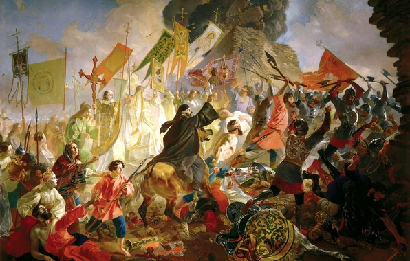 Picture people, the situation, flags, battle, fortress, painting, troops, banners, Bryullov Karl, The siege of Pskov …
