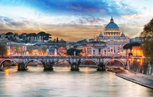 Picture sunset, bridge, lights, river, home, the evening, Rome, lights, Italy, Palace, The Tiber, St. Peter's …
