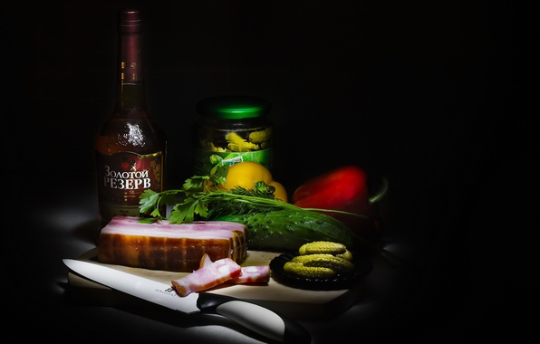 Picture greens, alcohol, knife, meat, pepper, still life, cognac, vegetables, cucumbers, composition, products, fat