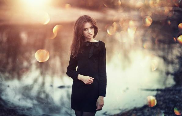 Picture look, water, girl, light, face, glare, reflection, river, sweetheart, model, tilt, dress, black, effect, tights, …