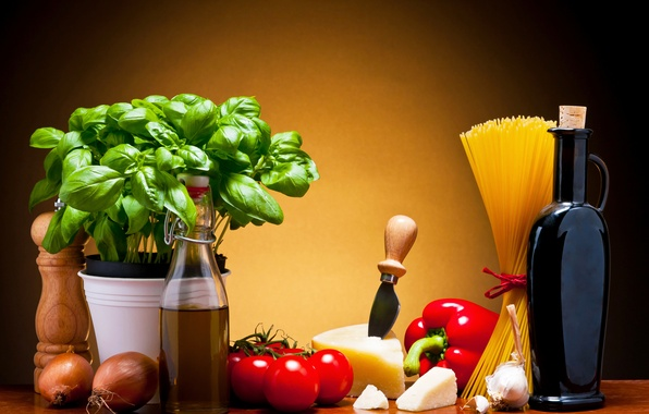 Picture leaves, wine, cheese, pepper, pitcher, vegetables, tomatoes, spaghetti, wine, tomatoes, cheese, pasta, pepper, Basil, pasta