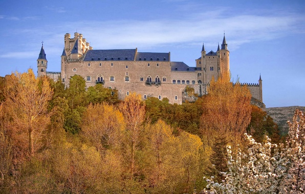 Picture autumn, the sky, trees, fortress, Spain, Palace, Alcazar, Segovia