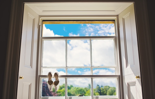Picture the sky, glass, window, shoes