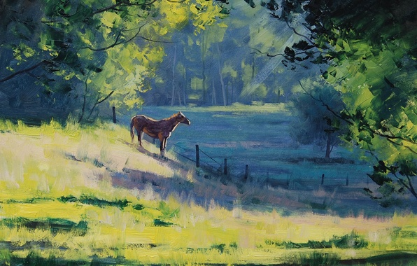 Picture greens, trees, landscape, horse, horse, the fence, morning, art, artsaus