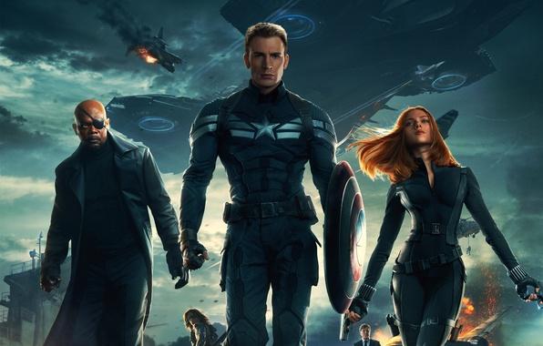 Picture Scarlett Johansson, Girl, Red, Men, Guns, Marvel, Captain America, Black Widow, Battleship, Chris Evans, Natasha, …