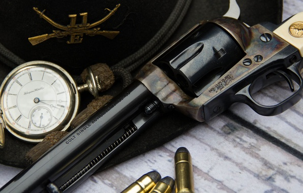 Picture weapons, watch, hat, trunk, cartridges, revolver, Colt, Action Army