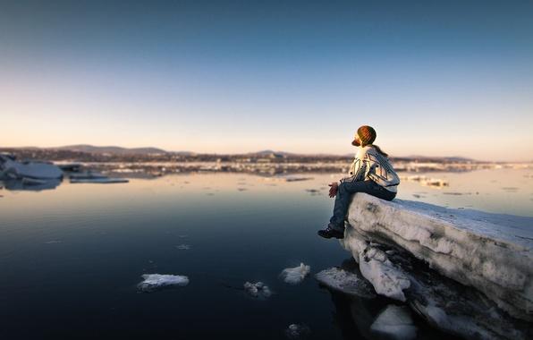 Photo wallpaper river, sunset, man, serenity, peaceful