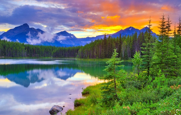 Picture the sky, clouds, trees, sunset, mountains, lake, Banff National Park, Alberta, Canada, Canada, Herbert Lake