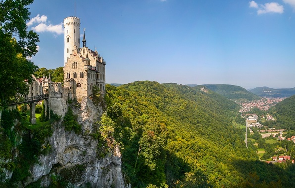 Picture mountains, rock, castle, Germany, valley, panorama, Germany, Baden-Württemberg, Baden-Württemberg, Lichtenstein Castle, Württemberg, Württemberg, Lichtenstein Castle