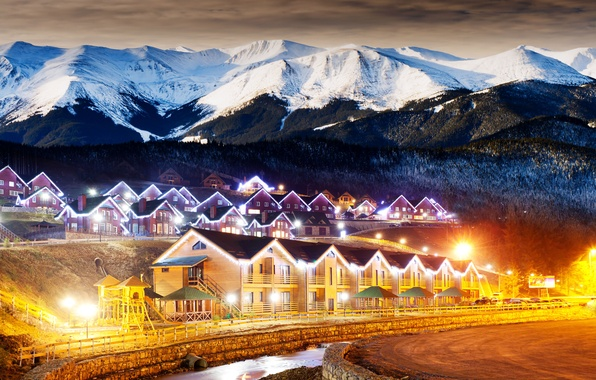 Picture winter, forest, clouds, mountains, night, lights, village, houses, winter, snowy, countryside, highlands