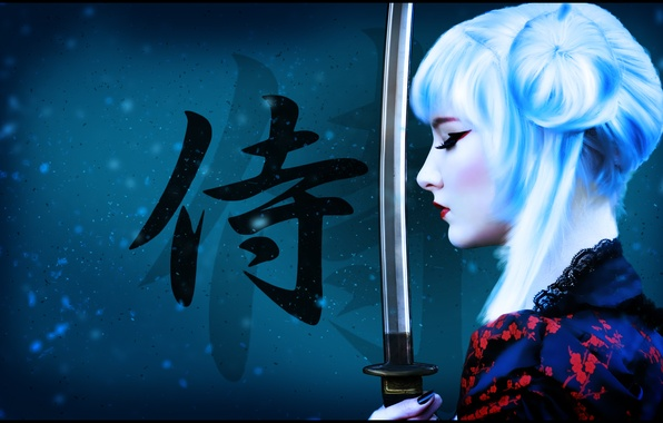 Picture girl, weapons, background, figure, sword, katana, makeup, warrior, art, samurai, hairstyle, blonde, characters