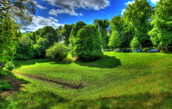 Picture road, greens, summer, the sky, grass, the sun, clouds, trees, machine, glade, Germany, Wetzlar