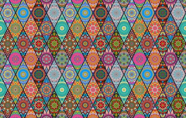 Photo wallpaper flowers, patterns, diamonds