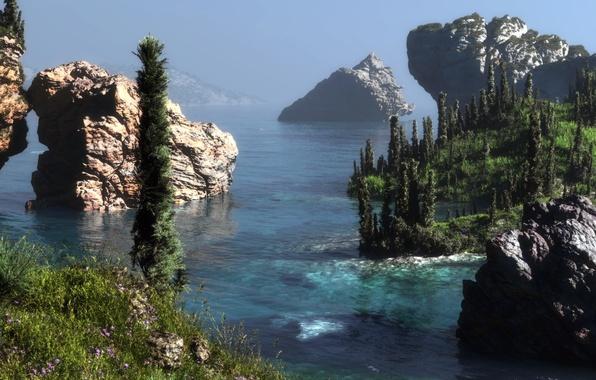 Picture sea, forest, landscape, flowers, rocks, hills, art, klontak