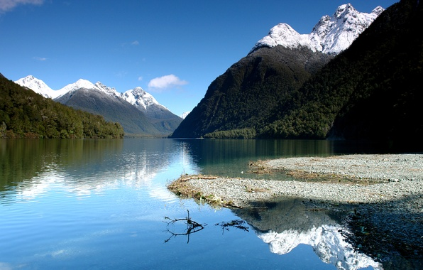 Picture the sky, mountains, lake, reflection, blue, New Zealand