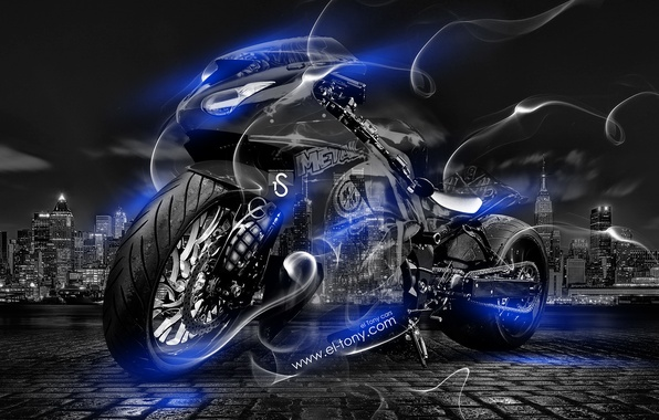 Picture Night, Blue, The city, Smoke, Neon, Style, Wallpaper, Bike, Motorcycle, Blue, City, Moto, Art, Blue, …