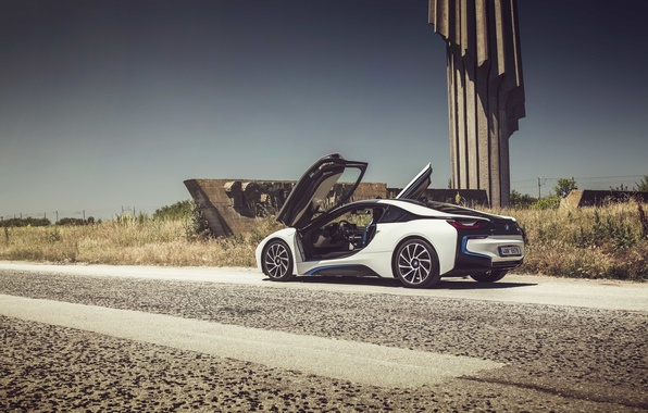 Picture road, power line, BMW i8