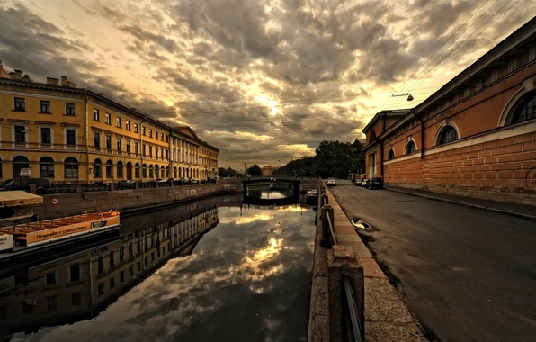 Picture the city, street, home, architecture, bridge, buildings, Saint Petersburg