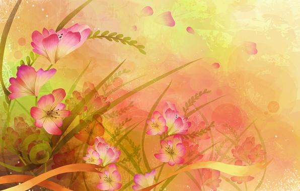 Picture leaves, flowers, paint, vector, petals, tape