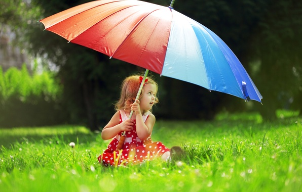 Picture grass, trees, nature, umbrella, child, polka dot, dress, girl