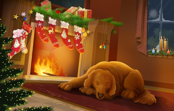 Picture night, heat, new year, Christmas, dog, fireplace