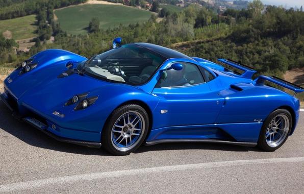 Picture blue, background, Pagani, Zonda, the front, supercars, Pagani, Probe
