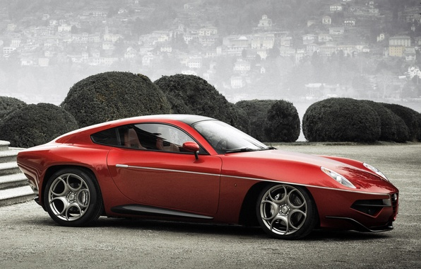 Picture red, Alfa Romeo, car, side view, beautiful, Touring, Flying Disc