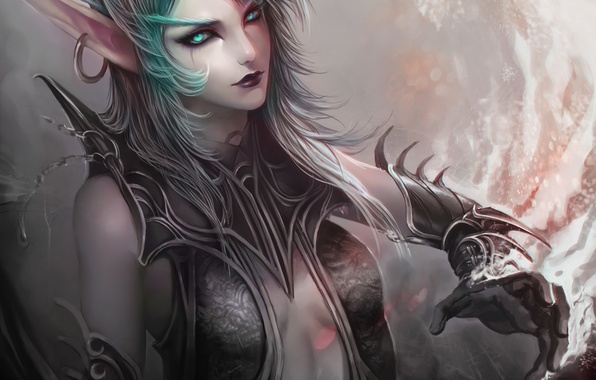Picture girl, art, World of Warcraft, elf, earring