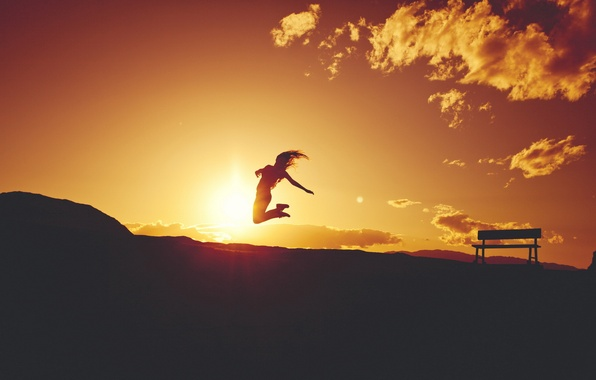 Picture girl, sunset, mood, silhouette, flight, bench