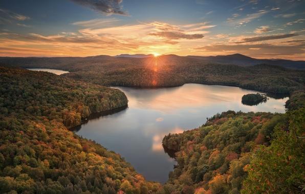 Picture autumn, forest, sunset, lake, pond, panorama, Woodbury, Vermont, Vermont, Nichols Pond, Woodbury