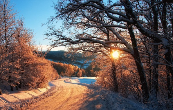 Picture winter, road, forest, the sky, the sun, snow, trees, nature