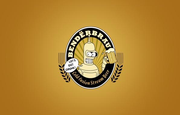Picture beer, minimalism, futurama, bendeerbrau, Bender