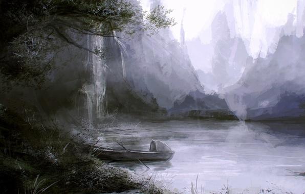 Picture grass, landscape, lake, tree, rocks, shore, boat, waterfall, art