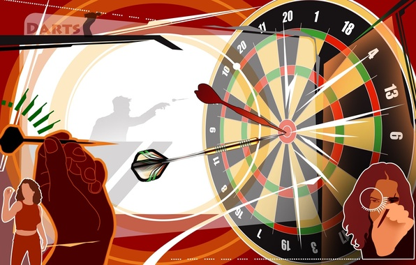 Picture abstraction, Wallpaper, vector, silhouette, target, dart, Darts