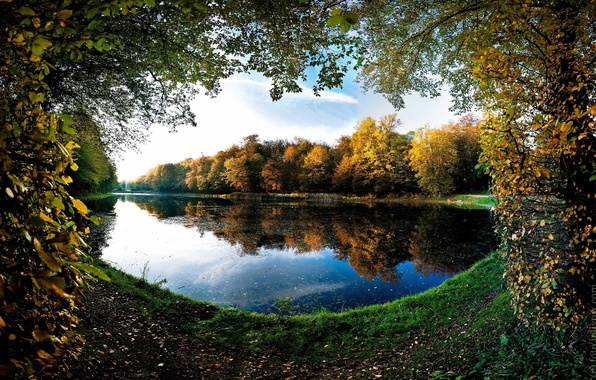 Picture autumn, lake, table, Wallpaper, focus, the desktop, forest lake