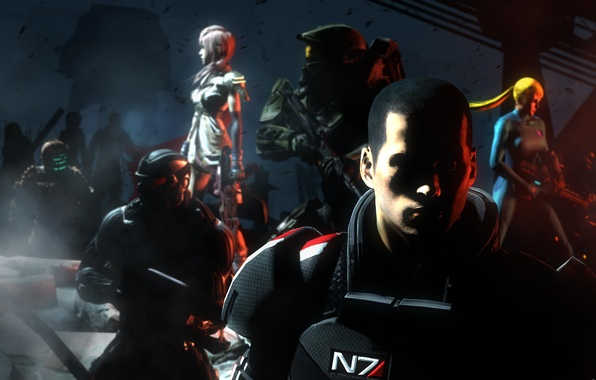 Picture dark, Halo, dead space, mass effect, shepard, lightning, Mster Chief, final fantasy 13, isaac clarke, …