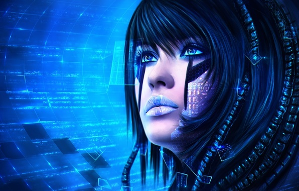 Picture look, girl, face, fiction, technology, art, Sci-Fi
