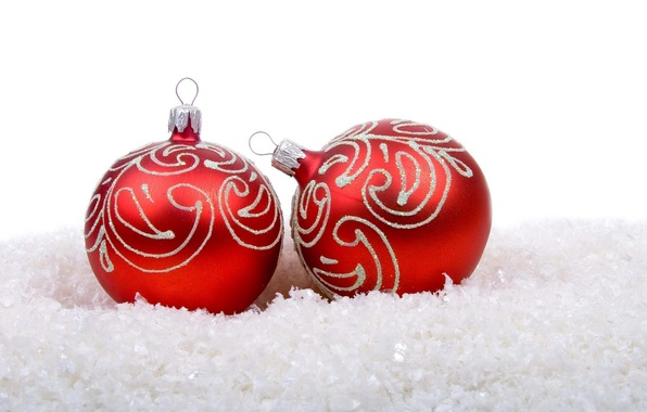 Picture snow, holiday, balls, new year, Christmas, red, white background, christmas, new year, Christmas decorations