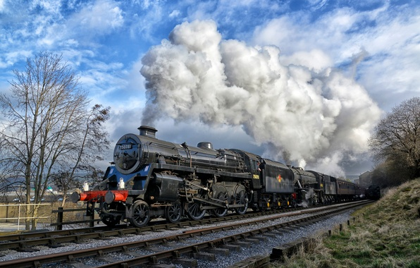 Picture the way, smoke, train, the engine, cars, railroad